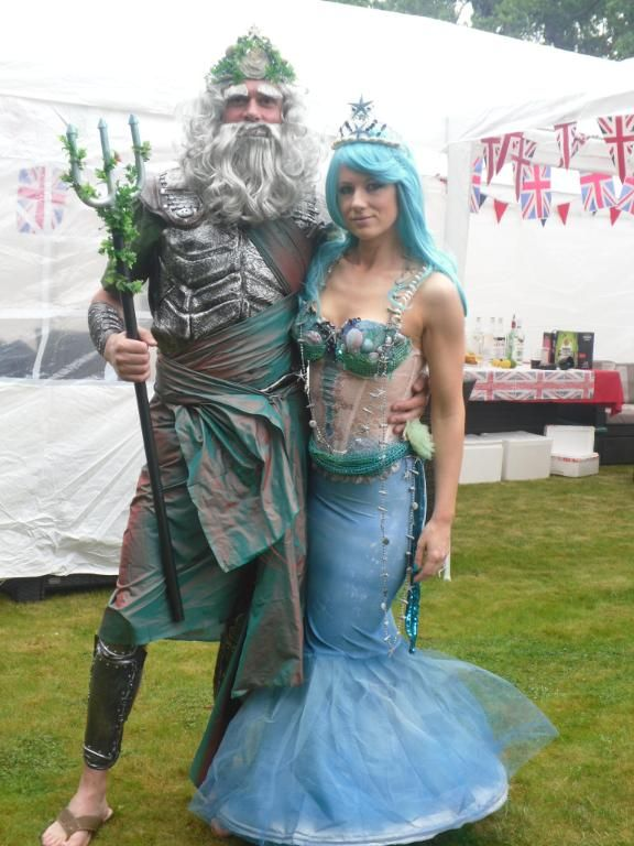 Neptune and his Mermaid. Costumes for photo booth.