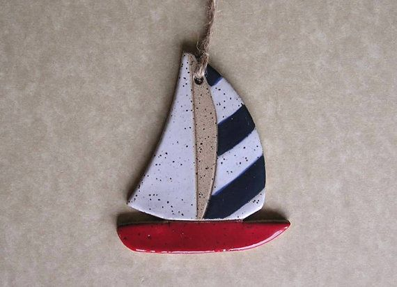 Sailboat Ornament  Stoneware  Made In Maine by by ConceptsInClay, $5.00