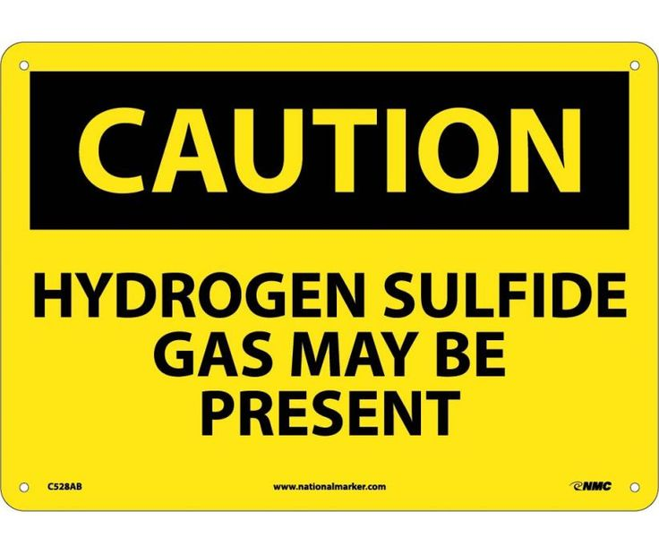 Caution, HYDROGEN SULFIDE GAS MAY BE PRESENT, 10X14, .040 Aluminum