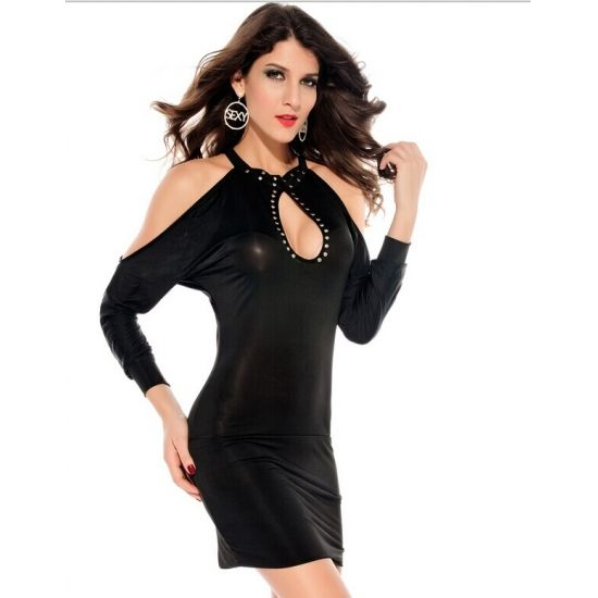 Summer New Long-sleeved Rivet Strapless Halter Hollow Dress