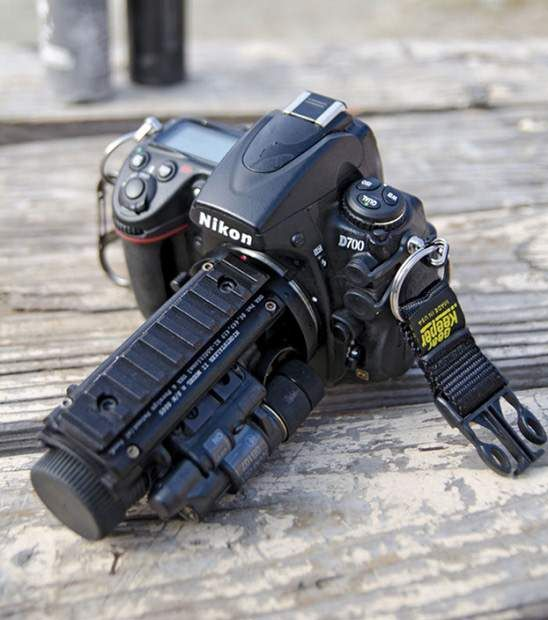Nikon D700 with a Nightstalker II night-vision system attached