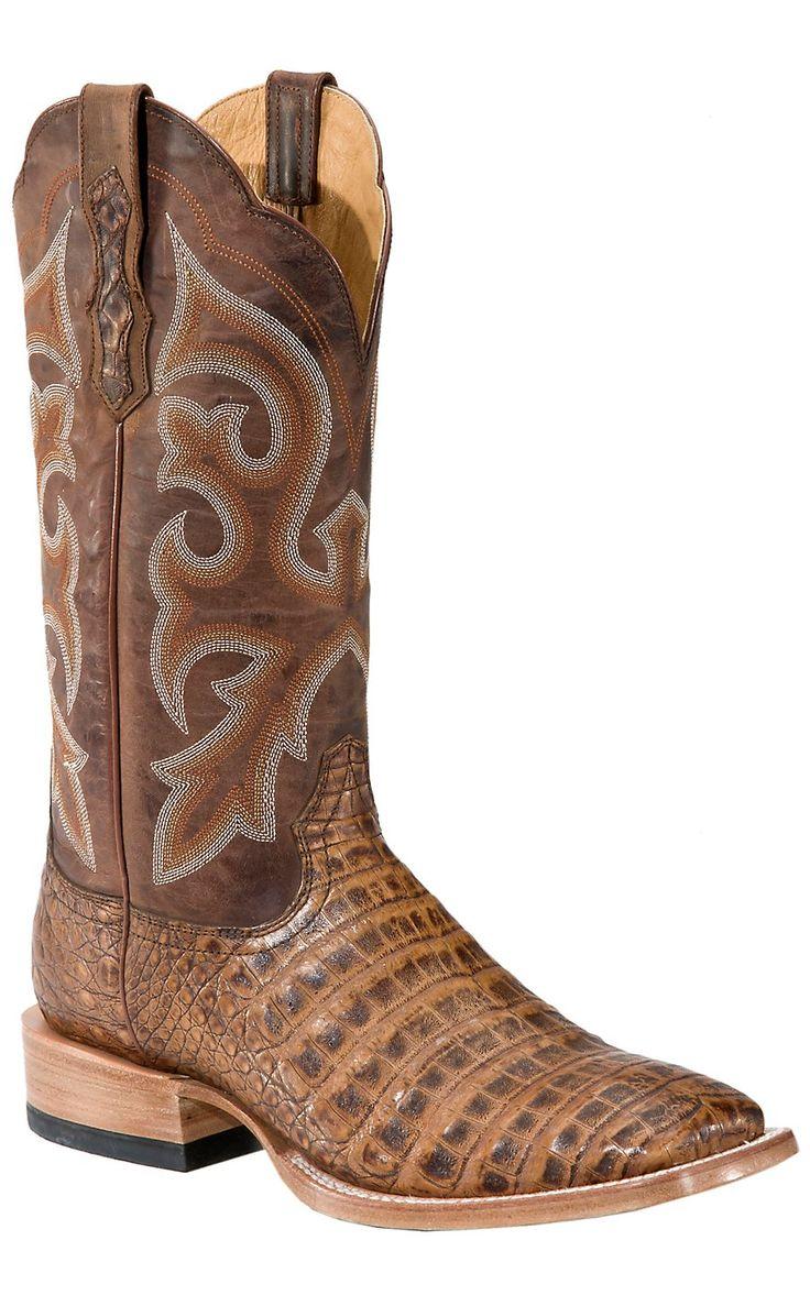 Ariat Latigo Men's Antique Pecan Brown Caiman Gator Belly Exotic Square Toe Cowboy Boots