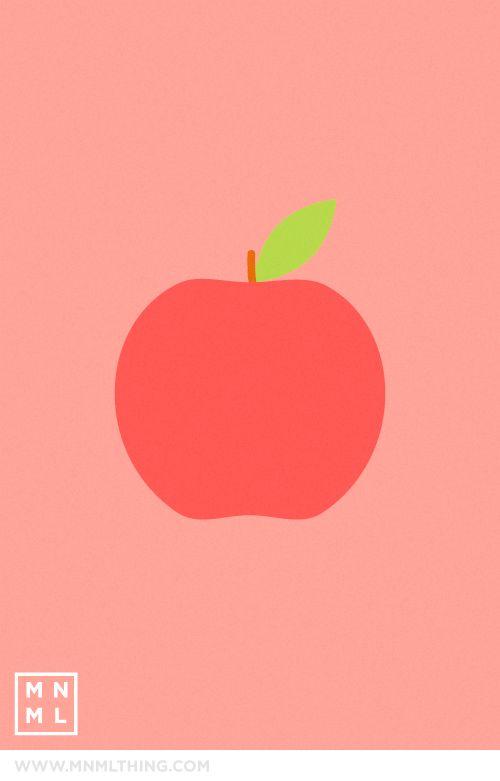 #65 Apple // Spencer Harrison #simple #illustration #apple #red #pink #green #pictorial