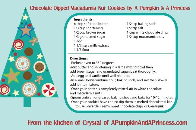 Chocolate Dipped Macadamia Nut Cookies by A Pumpkin & A Princess