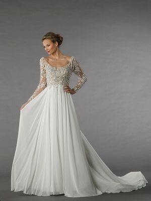 Scoop A-Line Wedding Dress  with Natural Waist in Chiffon. Bridal Gown Style Number:33033093