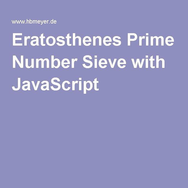 Eratosthenes Prime Number Sieve with JavaScript