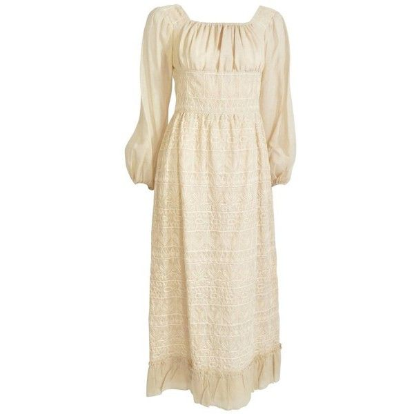 Preowned 1970s Bohemian Embroidered Maxi Dress ($325) ❤ liked on Polyvore featuring dresses, beige, maxi dresses, white dresses, vintage white dress, champagne maxi dress, embroidered maxi dress and white embroidered dress