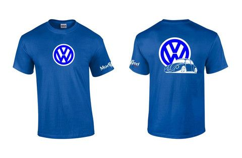 VW Bug Logo Shirt. All shirts are 100% Preshrunk cotton with a heat pressed die cut vinyl image. Shirts are custom made to order.