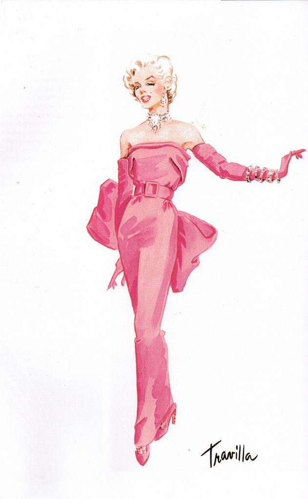 O vestido pink usado por Marilyn Monroe no filme Os Homens Preferem as Loiras (The Gentleman prefers blondes, 1953) - O vestido tubinho em cetim pink foi criado pelo figurinista William Travilla e possuía um cinto e um laçarote enorme atrás, a atriz usou com luvas longas da mesma cor.