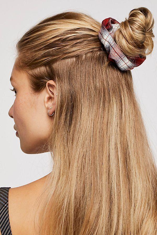 Oversize Plaid Scrunchie Long Hair Styles Long Hair Highlights Hair