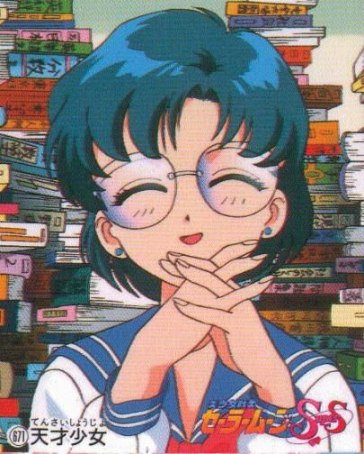 Sailor Moon - Ami represents the bookworm of the group, often portrayed with a different appearance from her fellow sailor scouts. She too possesses a quiet and soft spoken nature that often characterizes typical female bookworms