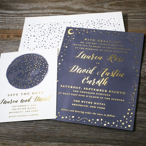 Astral foil stamped wedding invitation from Bella Figura features the moon and the stars. Customize yours with Paper Passionista.
