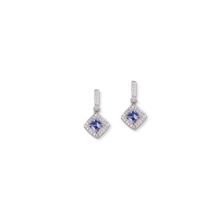 18ct White Gold Diamond And Tanzanite Earrings