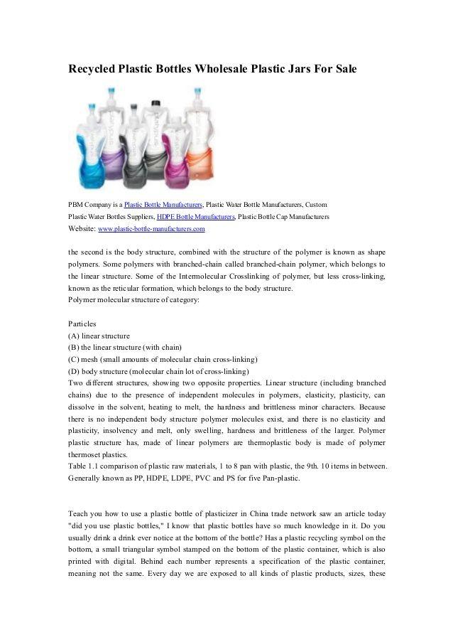Recycled Plastic Bottles Wholesale Plastic Jars For Sale PBM Company is a Plastic Bottle Manufacturers, Plastic Water Bott...
