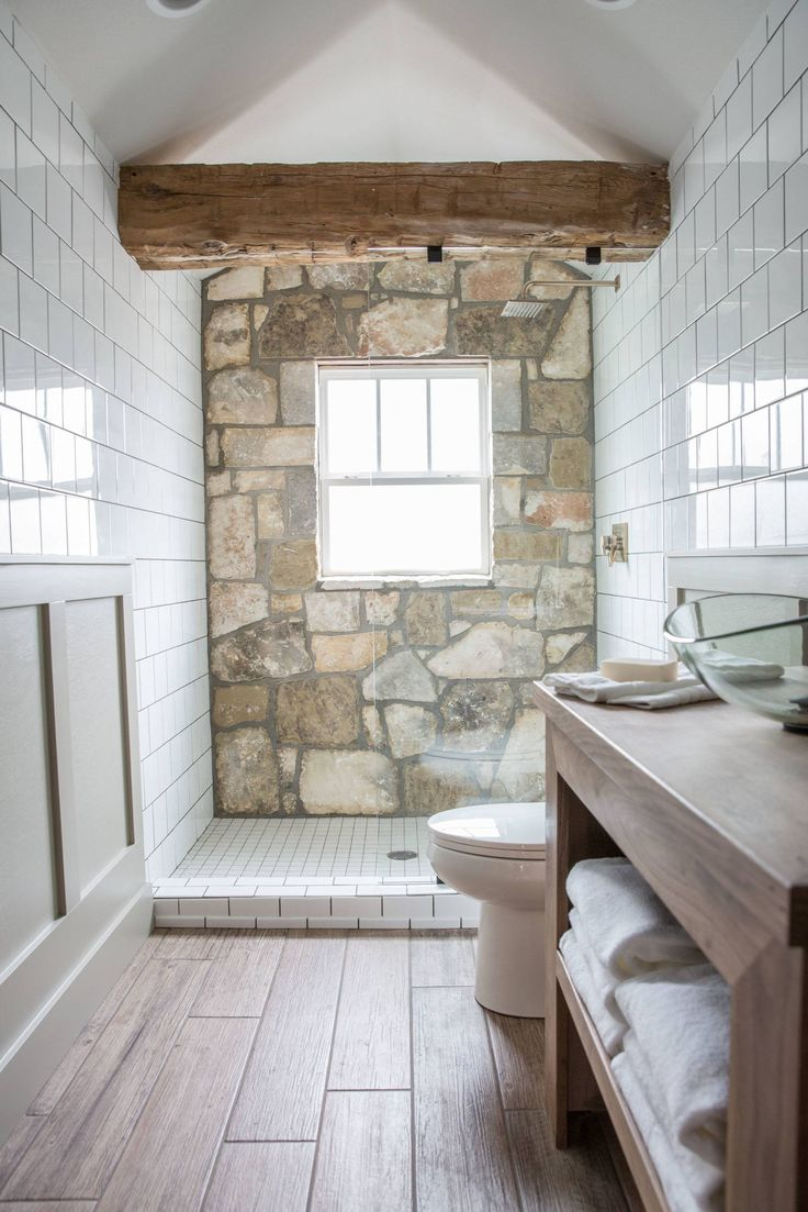 25 best ideas about rock shower on pinterest stone - Fixer upper long narrow bathroom ...
