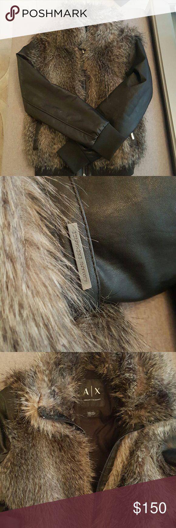Armani Exchange Faux fur leather bomber Armani Exchange faux fur bomber jacket. Worn Twice. Purchased in December. Armani Exchange Jackets & Coats