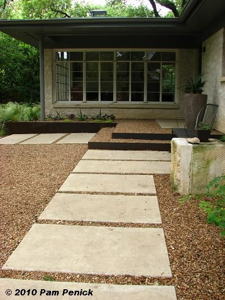 Zen simplicity with large concrete pavers and gravel