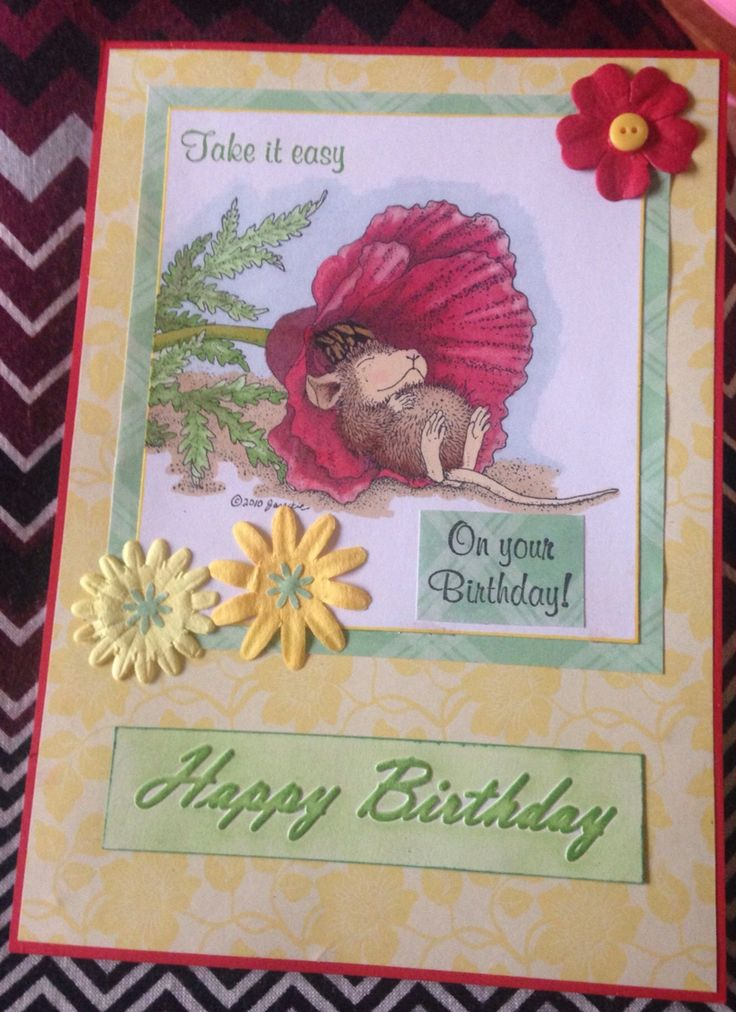 Handmade birthday card made with #cuttlebug embossing folder and House-Mouse stamps. Coloured with Promarkers.