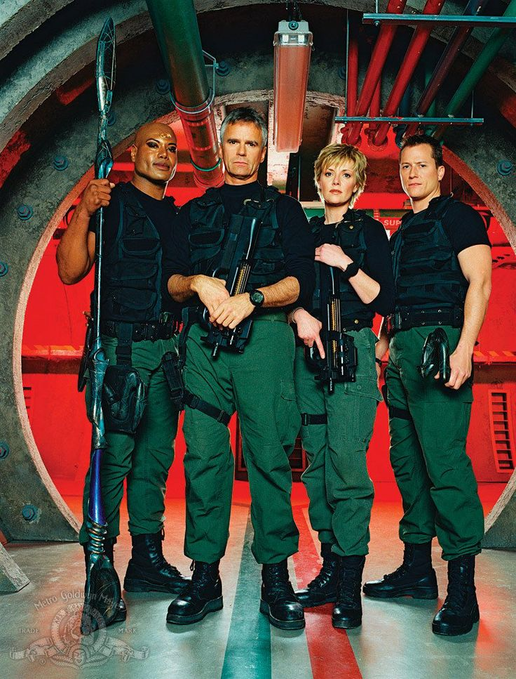 Still of Richard Dean Anderson, Corin Nemec, Christopher Judge and Amanda Tapping in Stargate SG-1 (1997)