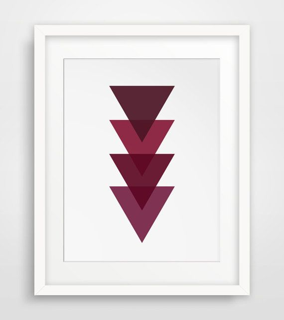 Geometric Print Burgundy Red Maroon Triangle by MelindaWoodDesigns