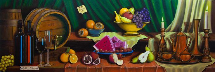 Natura morta con  botte, bottiglie, frutta e vassoio - Olio su tela 150 x 50 cm anno 2013