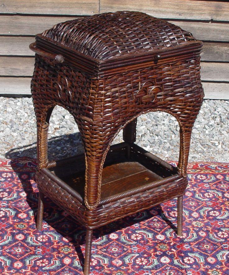Antique Wicker Sewing/Knitting Basket $495