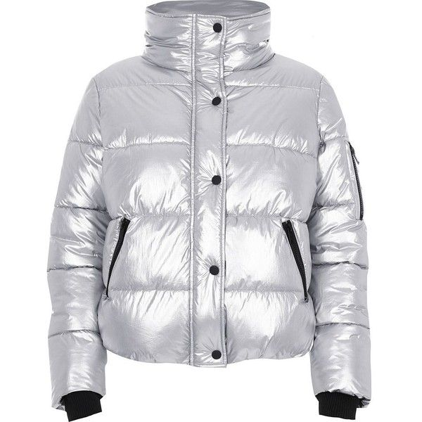 River Island Silver metallic puffer jacket ($130) ❤ liked on Polyvore featuring outerwear, jackets, coats, coats / jackets, silver, women, metallic jacket, long sleeve jacket, puffy jacket and tall jackets