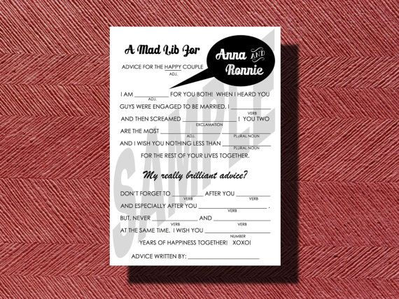 Fun #Wedding #MadLibs A Unique #GuestBook by WeddingsByJamie, $15.00
