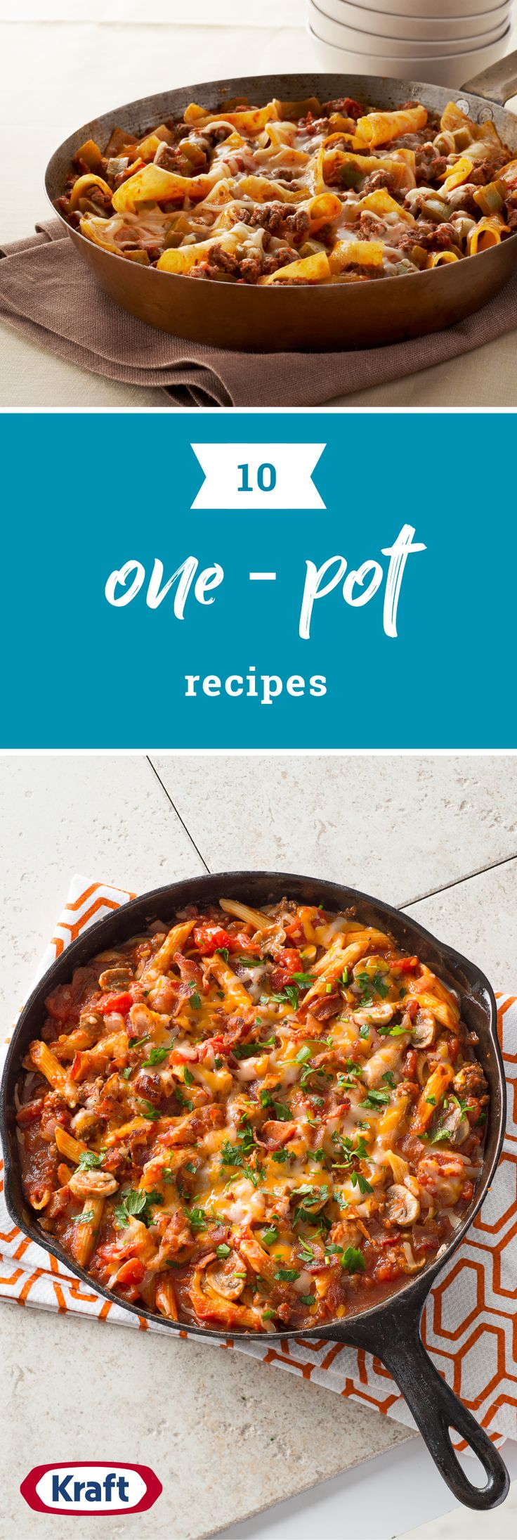 10 Best One-Pot Recipes – Headline your next meal with a recipe that's easy to make and easy to clean up! No wonder these simple and tasty recipes are a family favorite on your dinner table. Featuring chicken, beef, pork, and pasta, there are so many dishes to enjoy with this collection.