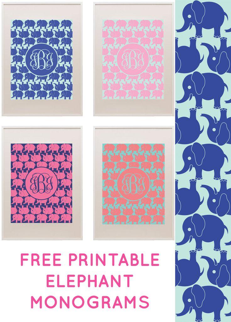 Free Elephant Printable Monogram Maker from printablemonogram.com #freeprintable