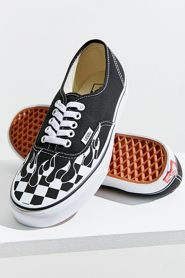 9f02e68e71fcf9 Slide View  1  Vans Authentic Checkerboard Flame Sneaker