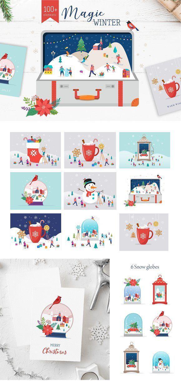 magic winter christmas scenes by marish on creativemarket