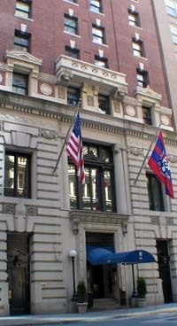The Penn Club of New York.  Great location in Midtown, comfortable rooms, and fun to visit with other Penn alums.