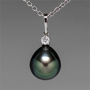 "Mikimoto Pearl Pedant Necklace 18.5"" Chain 18K White Gold"