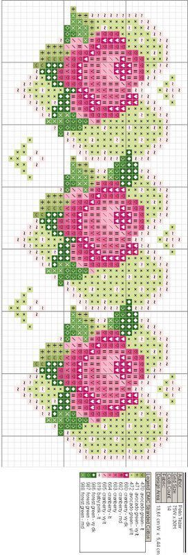 Rose and heart-shaped leaves cross stitch chart