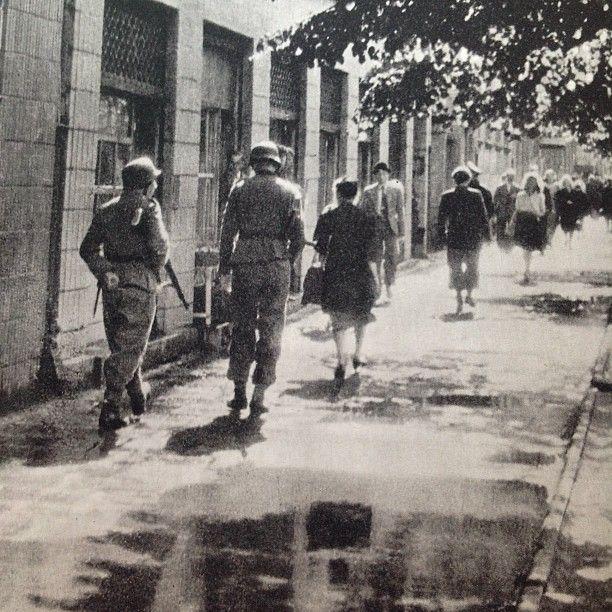 German troops patroling at Rakowiecka Street, Warsaw, before the Uprising  Source: Dni Powstania