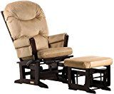Dutailier Round Back Cushion Design Modern Glider Multiposition, Recline and Ottoman Combo, Light Brown   www.needinmylife.com