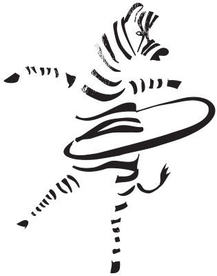 "Hula-Hoop Zebra. Illustration by Christina Heitmann #animal ""funny #clever #sports #poster #illustrations #simple #blackandwhite"