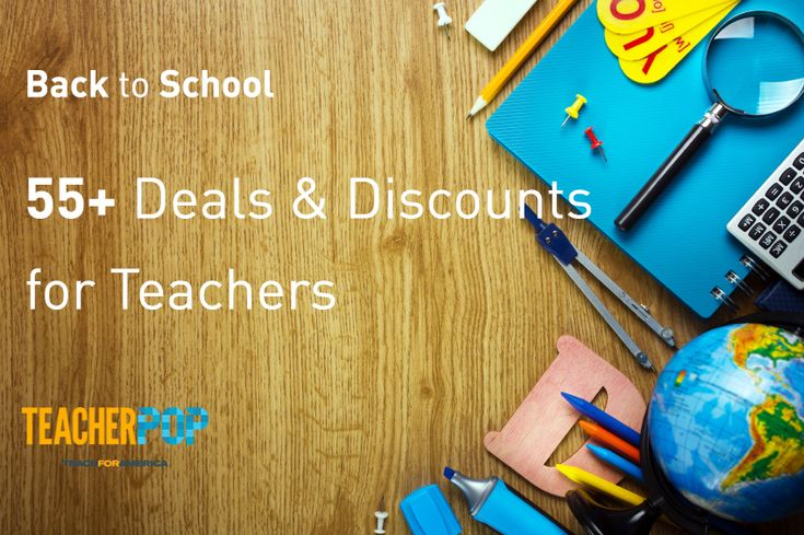 55+ Back to School Deals and Discounts -- Happy back-to-school season, teachers! TeacherPop is getting pumped for the new school year, and we thought we'd kick things off with an epic list of deals and discounts. Back-to-school shopping isn't as predictable as it used to be. A few of our favorite retailers and school suppliers roll out the savings throughout the summer, and some of the best bargains pop up after school starts in September.