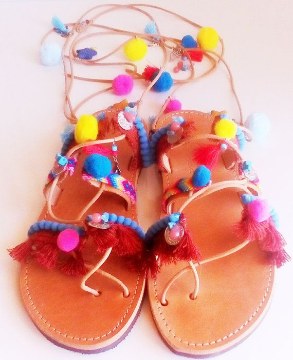 Tie up gladiator sandals, Lace up shoes, Flat gladiator, Pom Pom shoes, Hippie footwear, Friendship bracelets, Roman shoes, Wrap up shoes