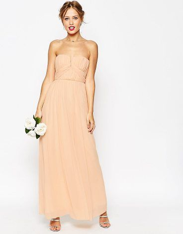 On SALE at 45% OFF! WEDDING Ruched Bodice Bandeau Maxi Dress by Asos. Dress by ASOS Collection, Layered chiffon, Bandeau design, Wire notch neckline, Ruch pleat detailing, Layered skirt, ...