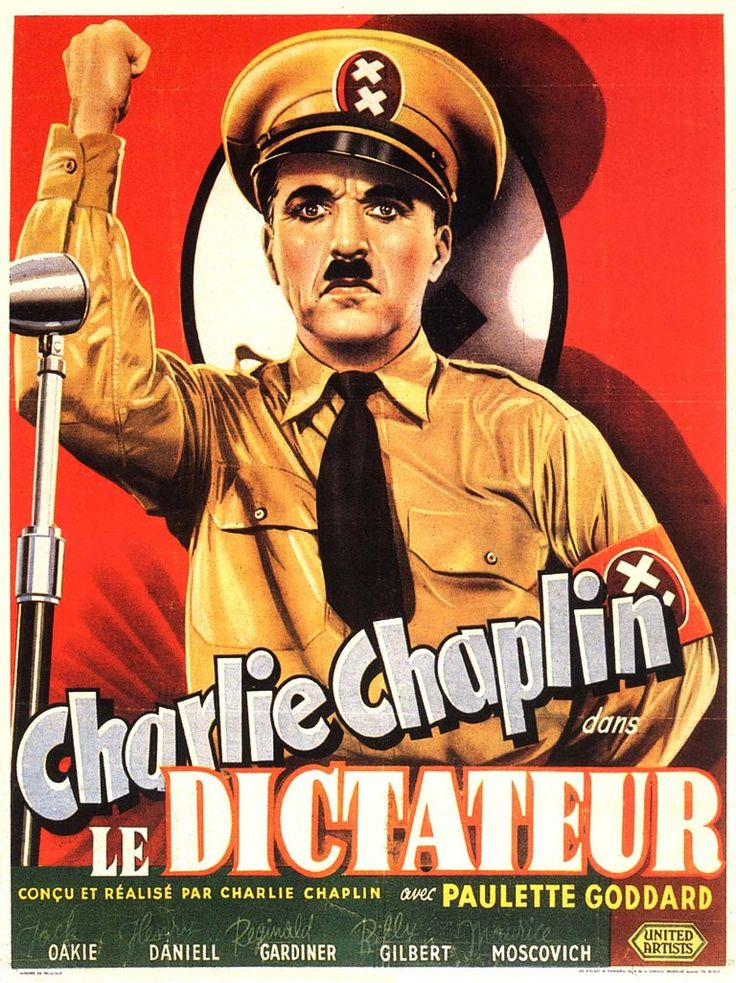 """French Film Poster for Charlie Chaplin's """"The Little Dictator"""" or """"The Dictator""""."""