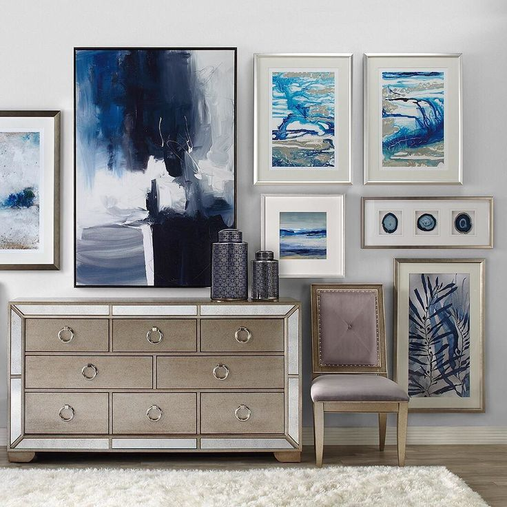 #StyleTip: Modern art makes the hallways in your home an instant catwalk. Shop art by color, including our impressive collection of sapphire pieces, by tapping the link in our bio now!