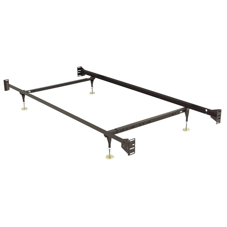 Fashion Bed Rails 734 Brass Keyslot Bed Frame w/ Bolt-On Headboard Brackets & (4) Adjustable Leg Glides, Twin / Full