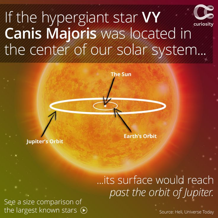 VY Canis Majoris has a diameter of almost 2 billion kilometers (compare that to the sun's relatively measly 1.4 million!). It's located about 5,000 light-years from Earth, and used to be the largest star known the science. Today, however, scientists believe that UY Scuti might hold that title, boasting a diameter of around 2.4 billion kilometers. Click the image to learn more!