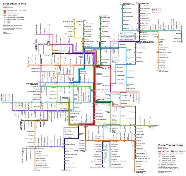 Vienna Tram Map – zrzut ekranu