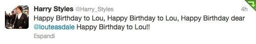 harry's tweet to lou teasdale!