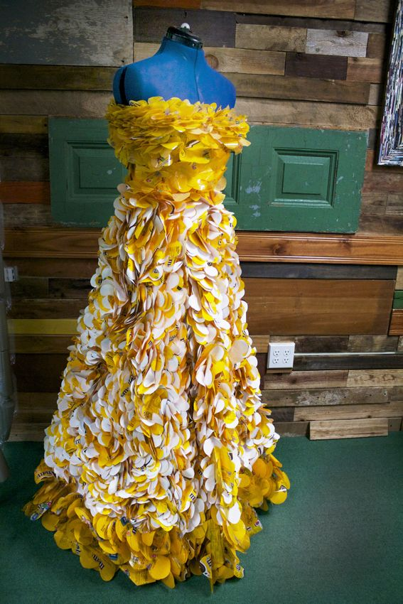 Dresses made from recycled materials material but for Waste things uses