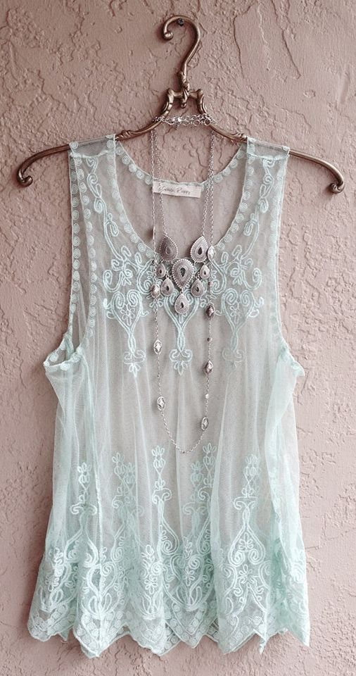 ☮ American Hippie Bohemian Boho Style ~ Summer Mint Green Sheer embroidered Camisole. Love it!