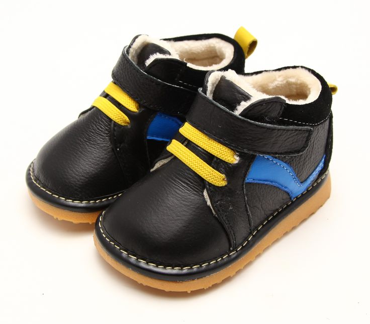 Freycoo | Jack | Boys Boots Crafted in black leather with blue and yellow accents and plush lining.